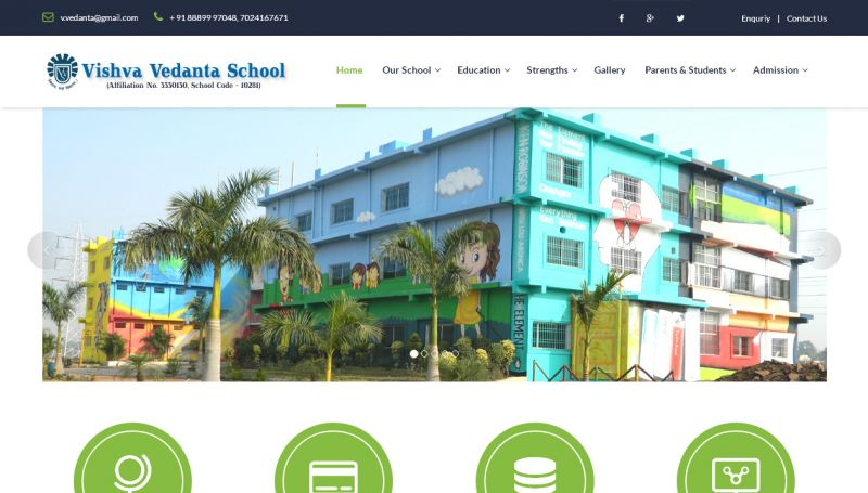 Vishva Vedanta School, website company design in raipur