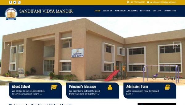 Sandipani Vidyamandir, website company design in raipur