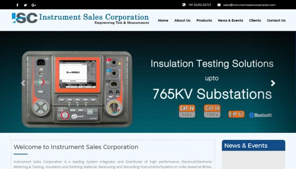 Instrument Sales Corporation, website company design in raipur