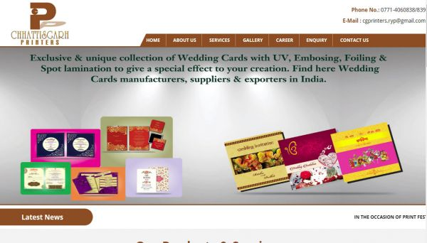 Chhattisgarh Printers, website company design in raipur